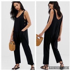 ASOS NWT Black Minimal Button Bib Jumpsuit